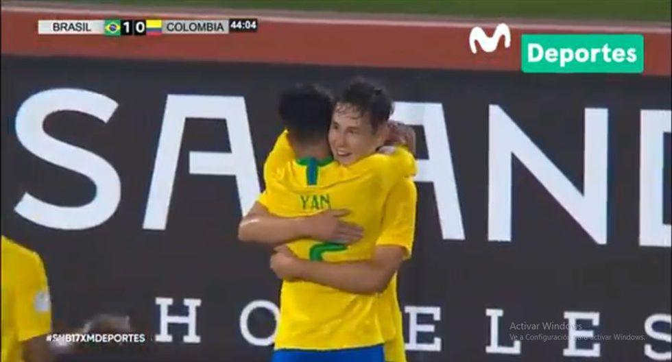 Patryck se encargó de anotar el 1-0 en el Colombia vs. Brasil en el marco de la jornada 4 del Sudamericano Sub 17 jugado en Perú (Video: Movistar Deportes)