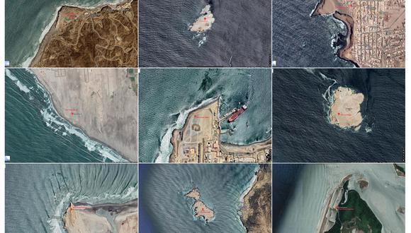 Fotografías satelitales de la ubicación de los faros en el litoral peruano como aparecen en google maps. A este tipo de imágenes se podrá acceder desde la web del proyecto. (FOTO: Google maps)