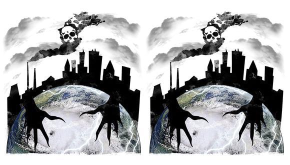"""""""Las ciudades son el principal desafío porque producen el 70% de los gases de efecto invernadero; unos 25.000 millones de toneladas anuales"""". (Ilustración: Rolando Pinillos Romero)."""
