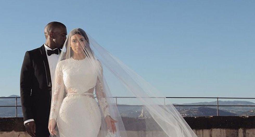 Kanye West y Kim Kardashian en el día de su boda. (Foto: Instagram)