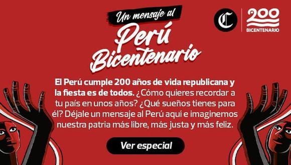 Déjale un mensaje al Perú del Bicentenario y que puedan leerlo tus hijos y los hijos de tus hijos. ILUSTRACIÓN: Ángela Peña.
