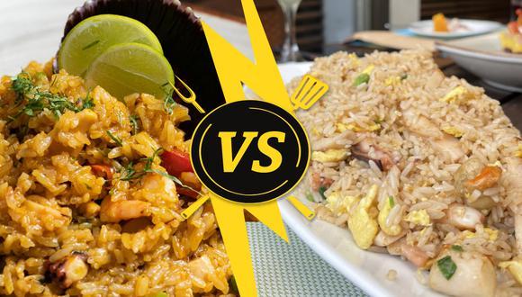 La comida marina es protagonista de este versus culinario. A la izquierda, un apetecible arroz con mariscos y, a la derecha, un sabroso chaufa con mariscos. Ambos preparados por el conocido restaurante La Red. (Fotos: La Red)