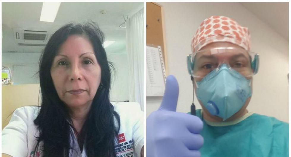 La gerocultora Cristina Gallegos y el médico Jorge Ramos trabajan en la emergencia del coronavirus en España. El gobierno español reportó este jueves 551 fallecidos por COVID-19 en las últimas 24 horas, lo que eleva el total en el país a 19.130. Los casos confirmados ya suman 182.816. (Foto: Archivo personal / Cortesía para El Comercio)