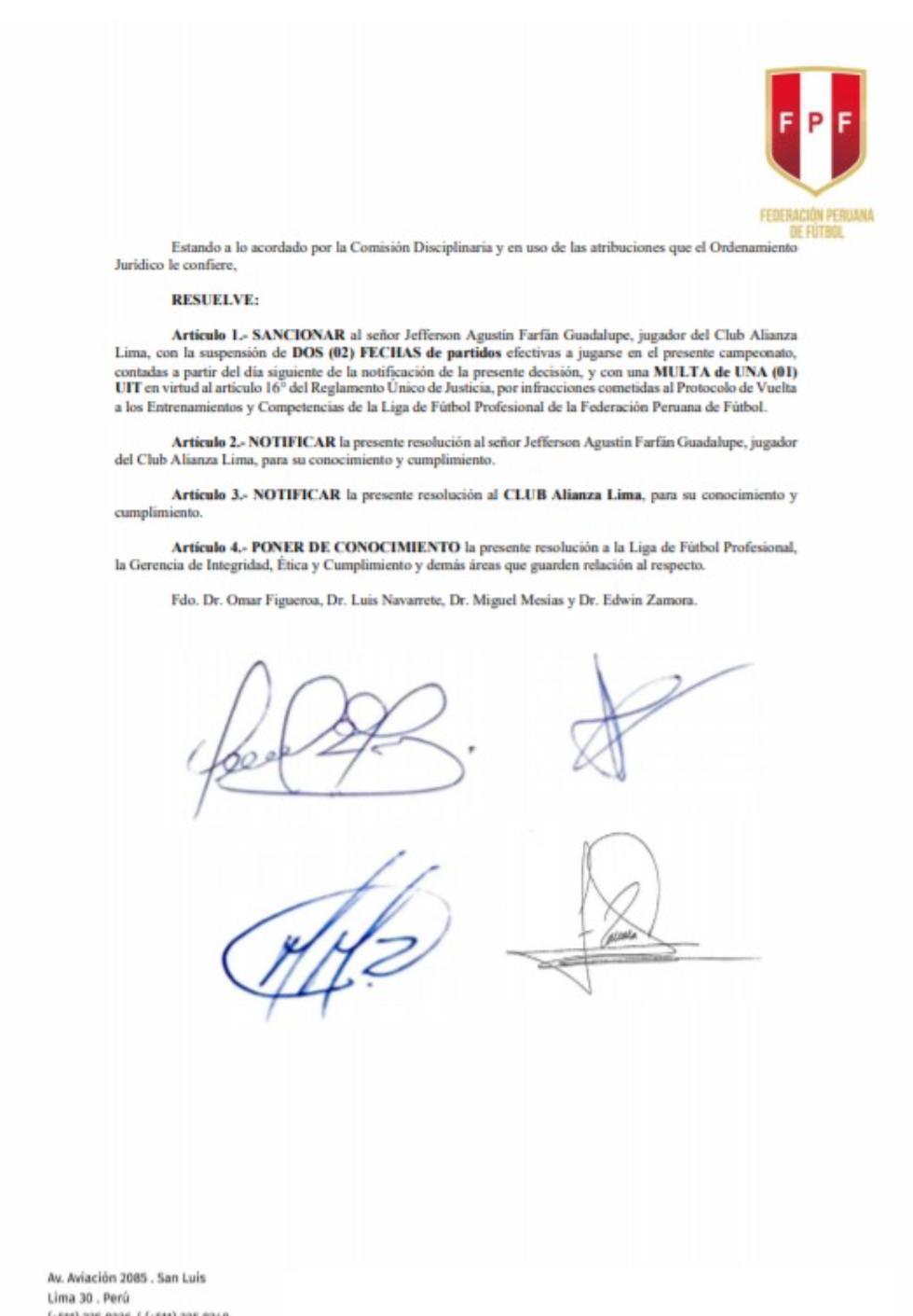 Resolución sobre la sanción a Jefferson Farfán