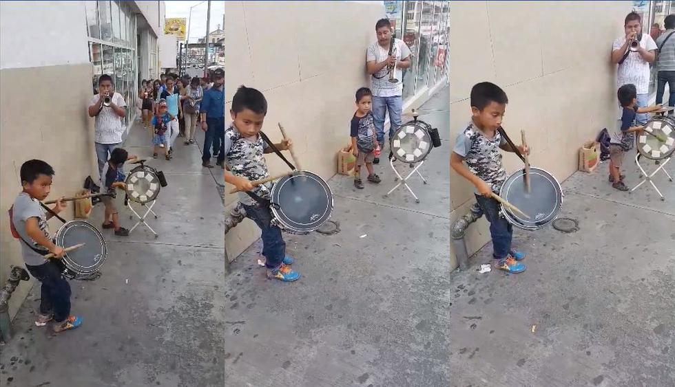 En un video de Facebook se conoció la historia de unos menores que se ganan la vida tocando música de Mexico en la calle. La reacción de los usuarios volvió viral al clip en redes sociales. (Foto: Captura)