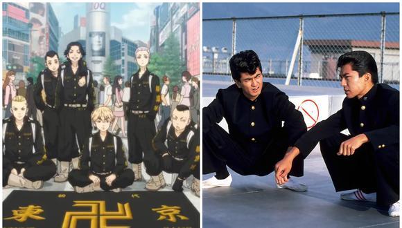 """""""Tokyo Revengers"""" (izquierda), un anime que gira en torno a una pandilla de delincuentes juveniles japoneses. A la derecha una imagen de la película """"Be-Bop High School"""" que gira en torno a dos personajes 'yankii'. (Foto: Crunchyroll/Central Arts)"""