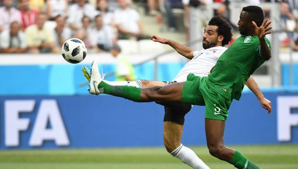 El delantero de Egipto anotó su segundo gol ante Arabia Saudita por el último partido del grupo A en el Mundial Rusia 2018. (Foto: AFP)