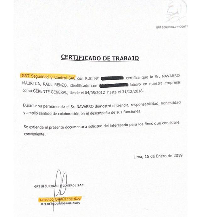 Este el certificado de trabajo que presentó Renzo Navarro y que firmó Gerardo Farfán, quien fue contratado en la municipalidad como subgerente. (Foto: El Comercio)