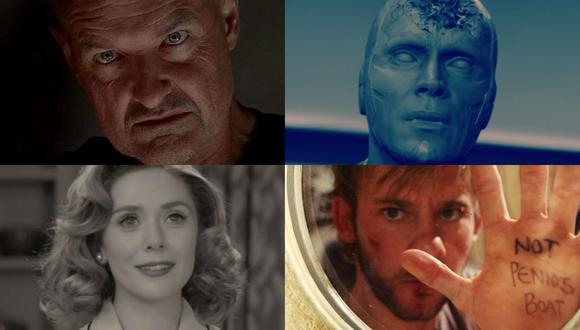 "En sentido horario, John Locke (Terry O'Quinn), Vision (Paul Bettany), Charlie Pace (Dominic Monaghan), y Wanda Maximoff (Elizabeth Olsen); personajes de ""Lost"" y ""WandaVision"". Fotos: ABC/ Disney+."