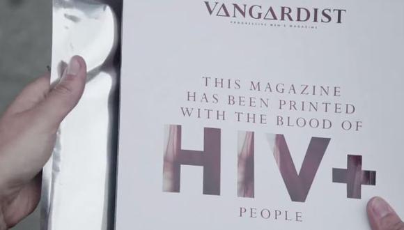 Imprimen revista con sangre de portadores de VIH