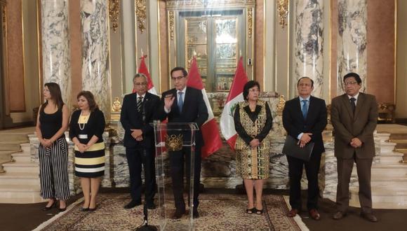 El presidente Martín Vizcarra anuncia nuevas medidas para evitar la propagación del COVID-19 en el país, ayer.