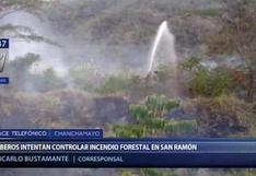 Junín: bomberos intentan controlar incendios forestales en Chanchamayo