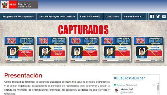 """Mininter crea portal web con información de """"Los más buscados"""""""