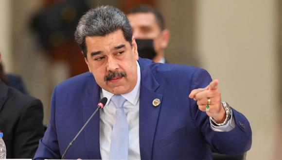 El presidente de Venezuela, Nicolás Maduro, habla durante la cumbre de la Celac en México. (HANDOUT / VENEZUELAN PRESIDENCY / AFP).