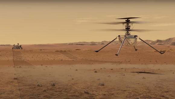 El helicóptero Ingenuity Mars de la NASA hizo el primer intento de la historia de volar con motor en otro planeta. (NASA)