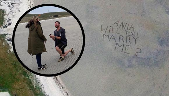 Una original proposición de matrimonio tuvo lugar en un famoso aeropuerto británico. | Crédito: Loganair / Facebook