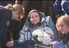 Regresan a la Tierra cineastas rusos que grabaron la primera película en el espacio