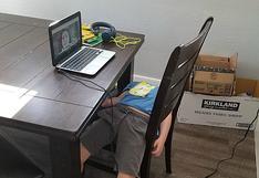La imagen viral que muestra el cansancio de un pequeño niño que aprende a leer a través de clases virtuales