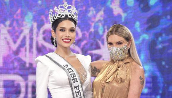 Miss Perú 2020, Janick Maceta, junto a la directora del Miss Perú, Jessica Newton. (Foto: Organización del Miss Perú)
