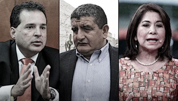 Omar Chehade, Humberto Acuña y Martha Chávez han sido propuestos por sus bancadas para presidir las comisiones de Constitución, Presupuesto e Inteligencia (Composición: El Comercio)