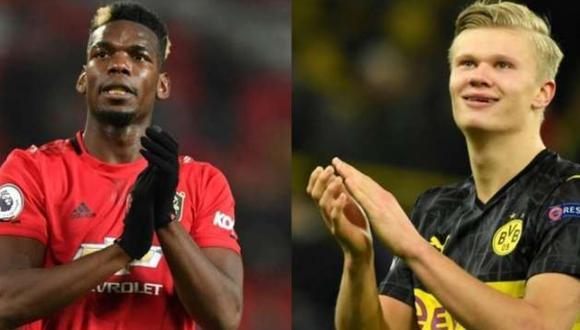 Paul Pogba se desempeña como volante en el Manchester United, mientras que Erling Haaland es delantero en el Borussia Dortmund. (Foto: AFP)