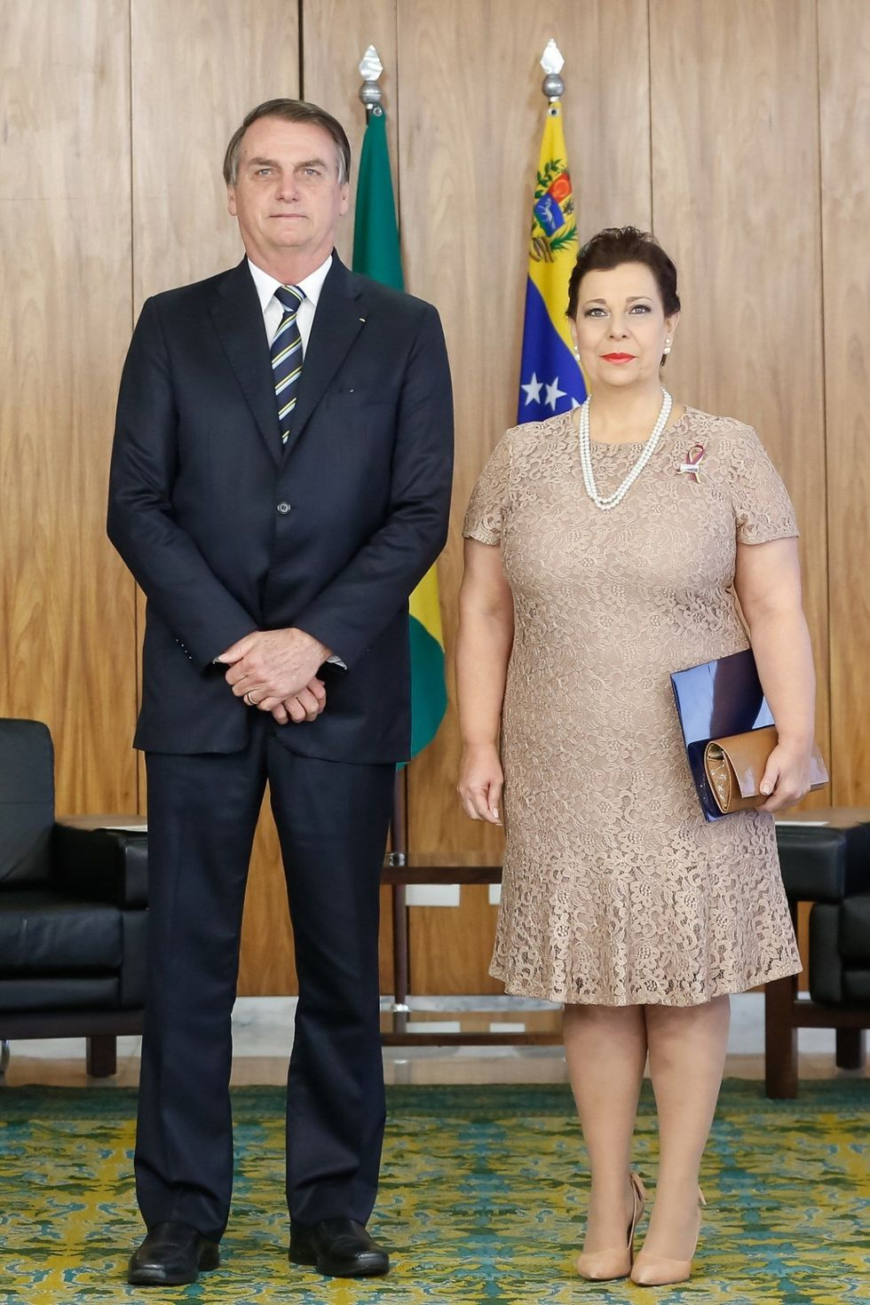 María Teresa Belandria fue recibida por Jair Bolsonaro, presidente de Brasil. (EFE)
