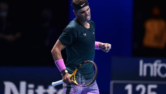 Nadal ganó su enfrentamiento ante Rublev por la ATP Finals 2020. (Foto: AFP)