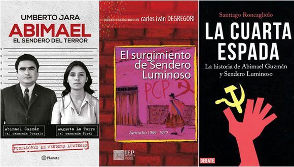 Portadas de los libros de Umberto Jara, Carlos Iván Degregori y Santiago Roncagliolo. (Fotos: Planeta / IEP / Debate)