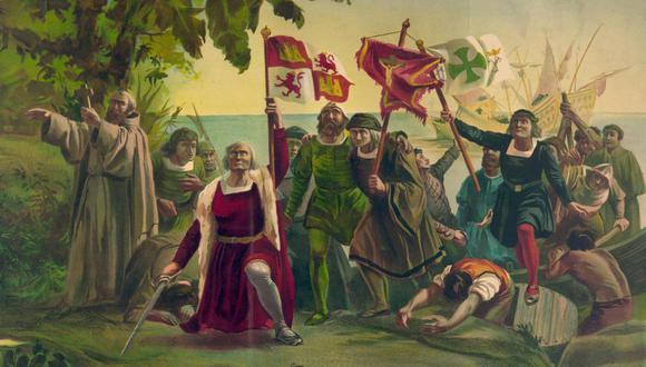 Representación de la llegada de Cristobal Colón a América en su primer viaje. (Pintura de Díscolo Puebla, 1862)