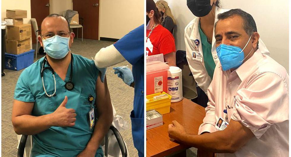 Coronavirus Estados Unidos. Los médicos peruanos Garry Gutierrez y Luis Raez recibieron la vacuna de Pfizer y BioNtech contra el COVID-19.