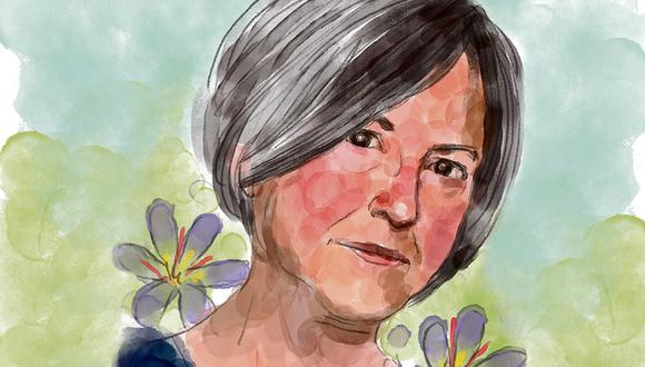 """Louise Glück, la poeta estadounidense ganó por """"su inconfundible voz poética que, con belleza austera, hace la existencia individual universal"""". (Ilustración: Víctor Aguilar)"""