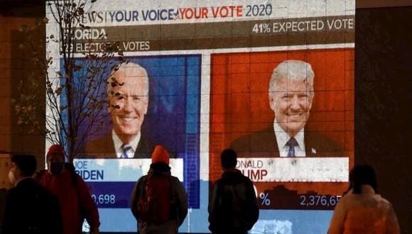 Unas personas seguían ayer, martes 3 de noviembre, el recuento de votos de las elecciones en los Estados Unidos. (Foto: AFP).