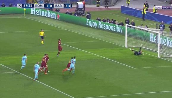 Daniele De Rossi marcó de penal en el Barcelona vs. Roma por la Champions League. (Foto: captura de YouTube)
