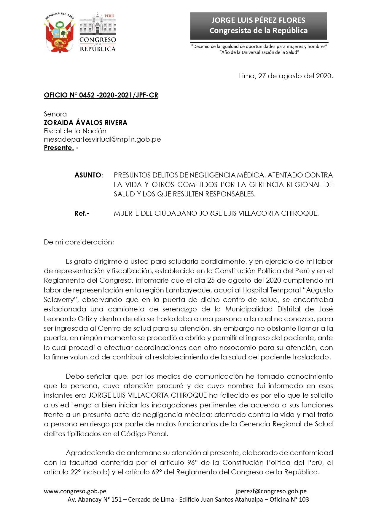 Oficio del congresista dirigido a la fiscal de la Nación. (Foto: Jorge Pérez Flores)