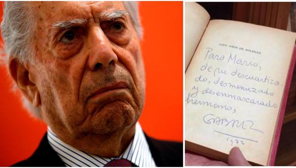 """Izq.: una dedicatoria de García Márquez para Vargas Llosa en un ejemplar de """"Cien años de soledad"""". Der.: el Nobel junto a su hijo Álvaro en la biblioteca arequipeña. (Fotos: archivo GEC)"""
