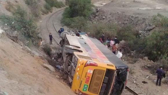 El accidente ocurrió en el kilómetro 49 de la Carretera Central esta mañana en el distrito de Santa Cruz de Cocachacra. (Facebook: Buses ruteros del Perú)