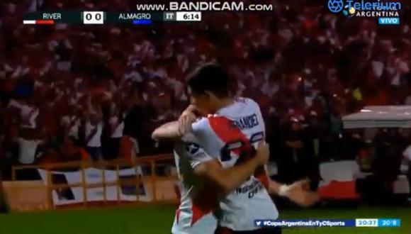 Santos Borré convirtió el 1-0 en Mendoza | Foto: Captura