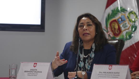 Violeta Bermúdez anunció que tres ministros junto a una comitiva del Ejecutivo acudirán al distrito de Challhuahuacho para establecer el diálogo con dirigentes ante huelga definida. (Foto: Grupo El Comercio)