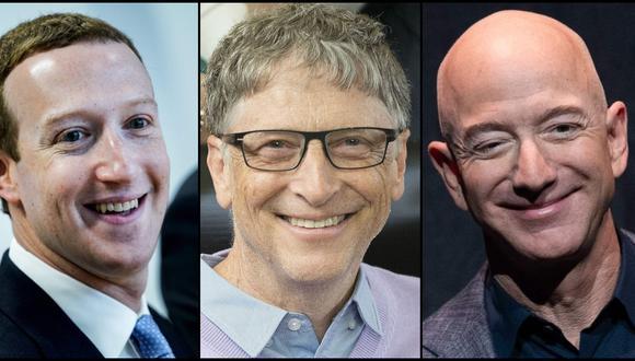 Bill Gates, Mark Zuckerberg, Jeff Bezos y otros multimillonarios de EE.UU, que se enriquecieron aún más con el coronavirus, según informe. Fotos:  AFP / Kenzo TRIBOUILLARD, AFP / SAUL LOEB,  Daniel Acker/Bloomberg