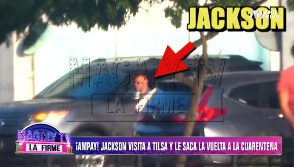 Jackson Mora es captado en la cochera de Tilsa Lozano en plena cuarentena. (Foto: Captura ATV)