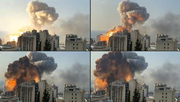 El momento de la fuerte explosión que se registró en el puerto de Beirut, Líbano. (Captura de video / AFP).
