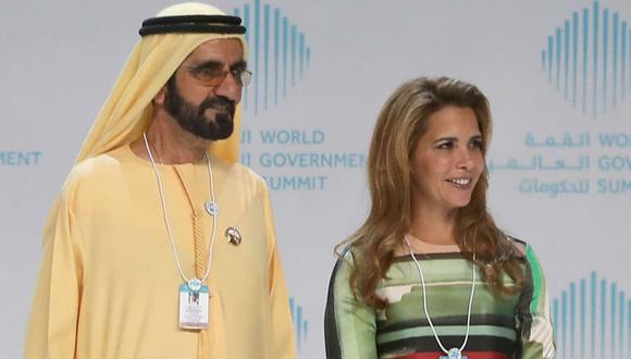 El emir de Dubai Al-Maktoum y su sexta mujer, la princesa Haya, el año pasado, en Dubai. Foto: AFP, vía La Nación