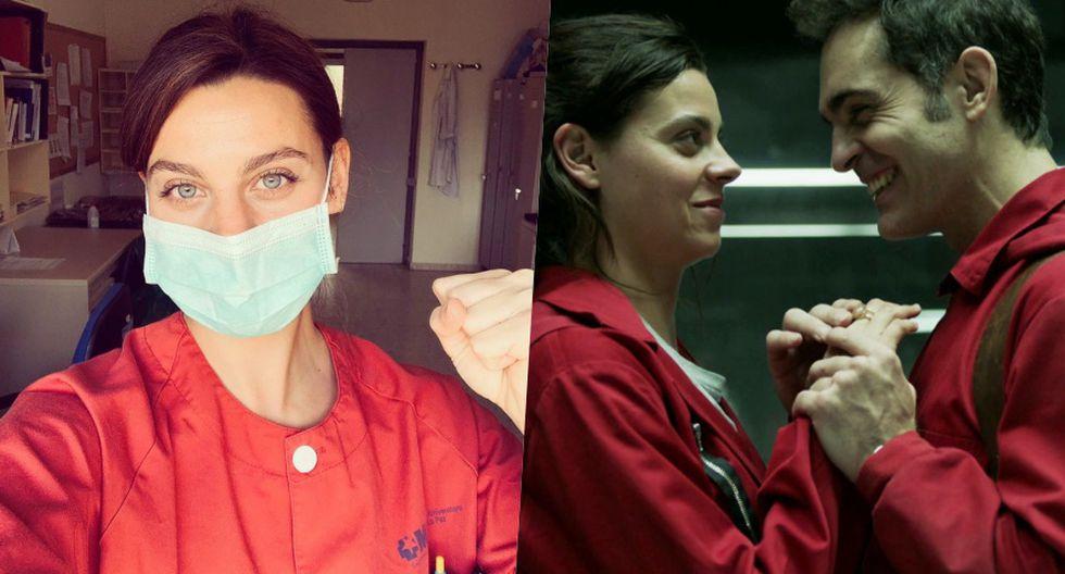 """(Izquierda) Clara Alvarado en la actualidad (Derecha) Cuando interpretó a Ariadna en la primera temporada de """"La casa de papel"""". (Fuente: Captura Netflix)"""