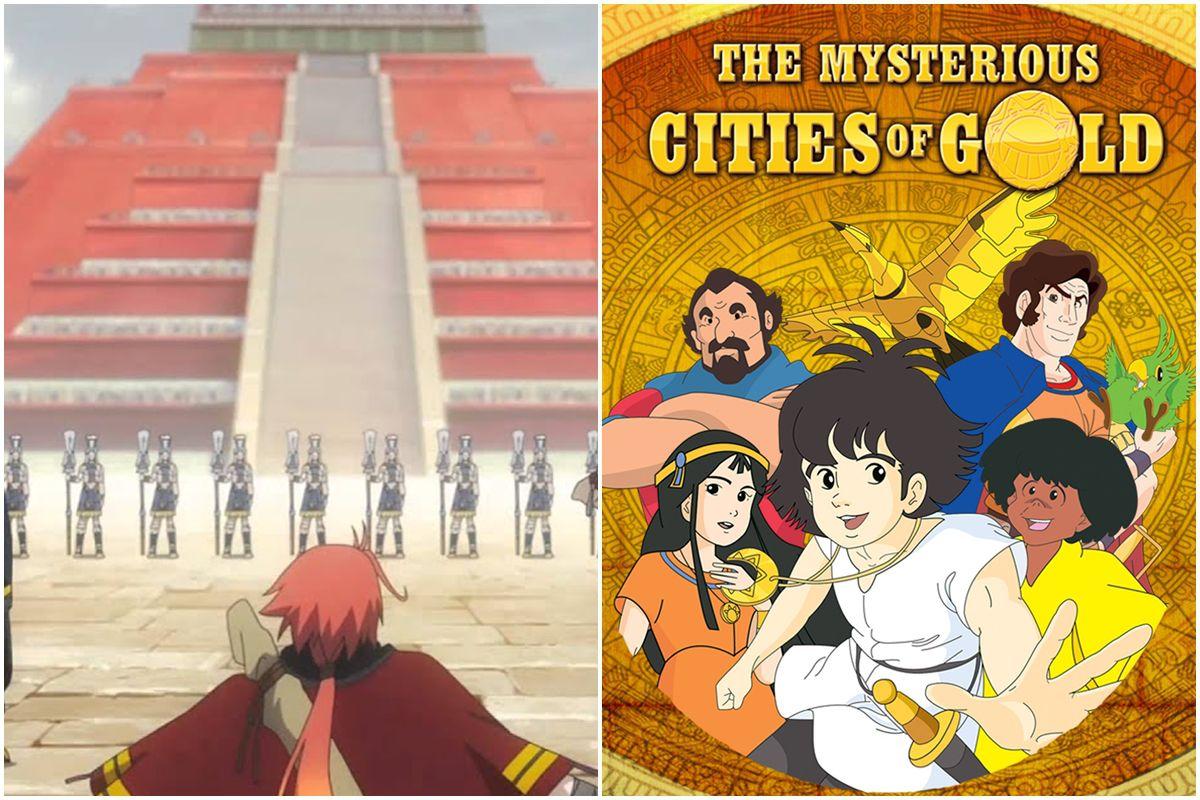"""""""Rokka no Yūsha"""" (""""Héroes de las seis flores"""") y """"Las misteriosas ciudades de oro"""" son dos series de animación que exploraron la estética de las culturas precolombinas en las Américas. (Fuente: Passione / NHK)"""