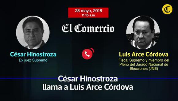 Audio entre el exjuez supremo César Hinostroza y al fiscal supremo Luis Arce Córdova, representante del Ministerio Público ante el JNE (El Comercio)