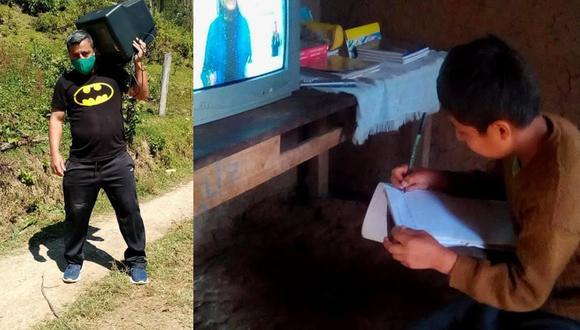 """Lino Rojas es un docente que reparte cargando al hombre los televisores que recolectó en su campaña para ayudar a los niños a estudiar con los programas de """"Aprendo en Casa"""".   Crédito: Diario El Clarín Amazonas / Facebook."""