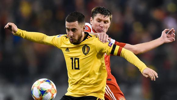 Bélgica vs. Rusia  se enfrentaron por la primera fecha del Grupo I de la fase clasificatoria a la Eurocopa 2020. El combinado belga se llevó la victoria por 3-1 en el Estadio Rey Balduino. (Foto: AFP).