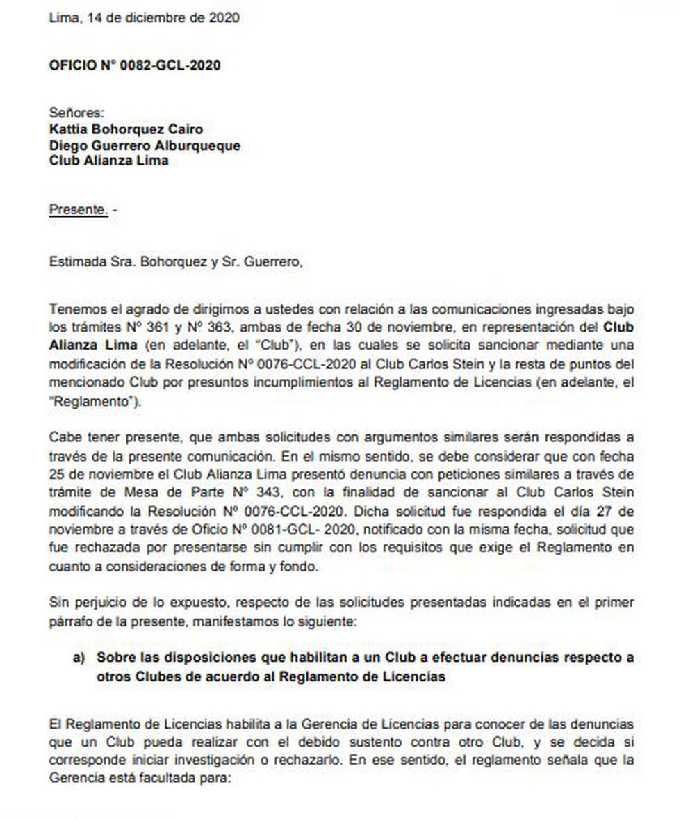 Resolución sobre reclamo de Alianza Lima