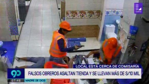 Ladrones se disfrazaron para perpetrar el robo, ocurrido cerca a una comisaría. (Foto: Latina)