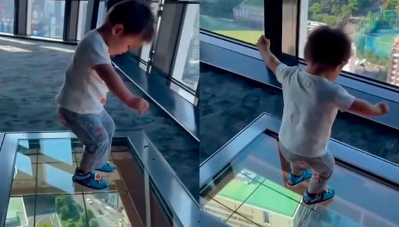 El pequeño Kaito Morishima protagonizó un tierno video viral al sorprenderse por un piso de vidrio (Foto: Tulsa World)
